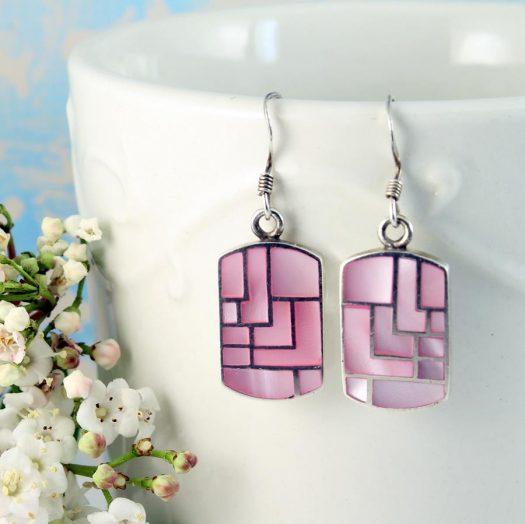 Pink MoP Mosaic Earrings E-0149-b