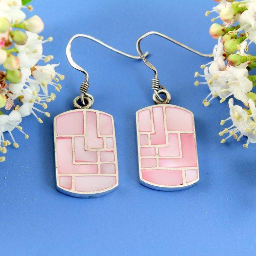 Pink MoP Mosaic Earrings E-0149-c