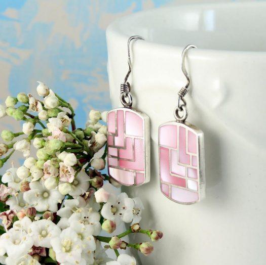 Pink MoP Mosaic Earrings E-0149-d