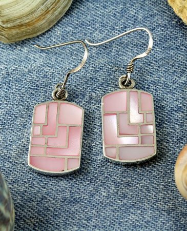 Pink MoP Mosaic Earrings E-0149-e