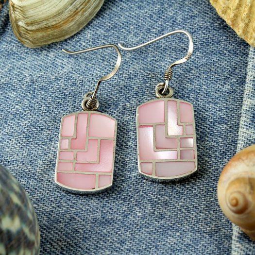 Pink MoP Mosaic Earrings E-0149-e