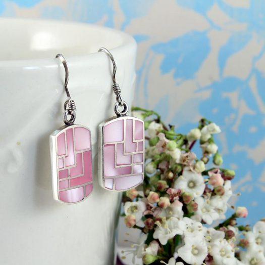Pink MoP Mosaic Earrings E-0149-f