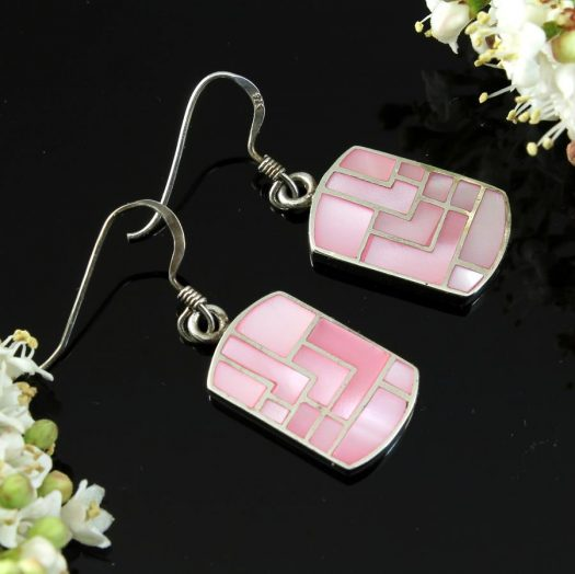 Pink MoP Mosaic Earrings E-0149-g