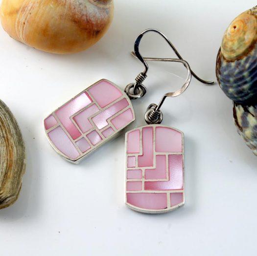 Pink MoP Mosaic Earrings E-0149-h