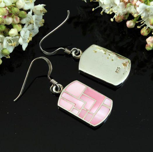 Pink MoP Mosaic Earrings E-0149-i