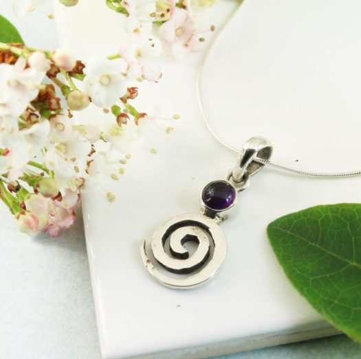 Amethyst & Silver Spiral N-0227-a
