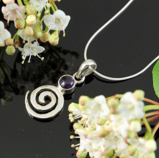 Amethyst & Silver Spiral N-0227-b