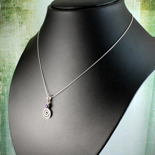 Amethyst & Silver Spiral N-0227-c