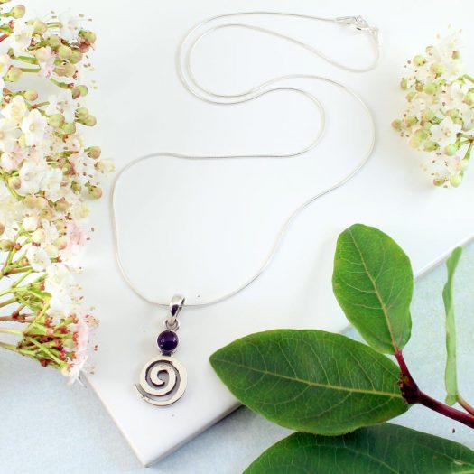 Amethyst & Silver Spiral N-0227-d