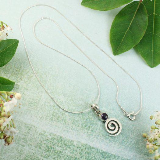 Amethyst & Silver Spiral N-0227-f