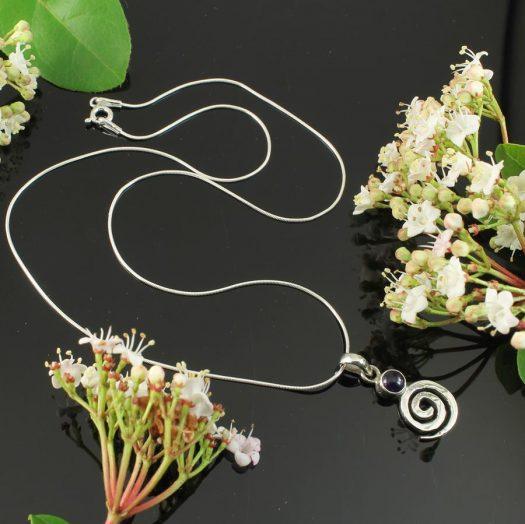 Amethyst & Silver Spiral N-0227-h