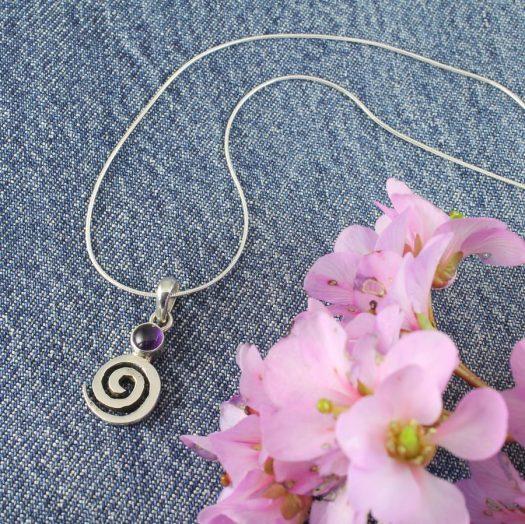 Amethyst & Silver Spiral N-0227-i