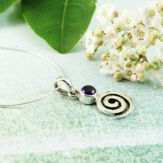 Amethyst & Silver Spiral N-0227-l