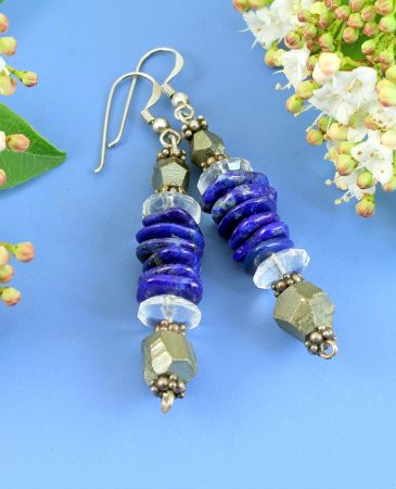 Lapis & Pyrite Earrings E-0136-a
