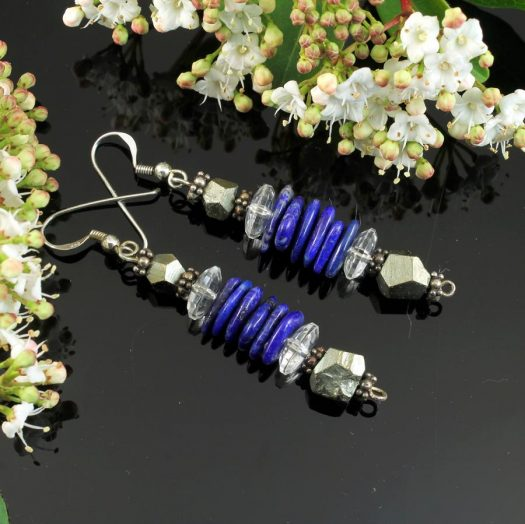 Lapis & Pyrite Earrings E-0136-b