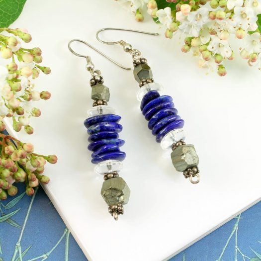 Lapis & Pyrite Earrings E-0136-c