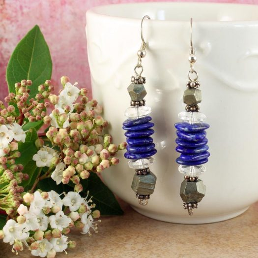 Lapis & Pyrite Earrings E-0136-d