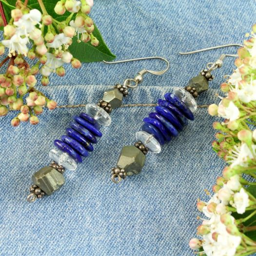 Lapis & Pyrite Earrings E-0136-e