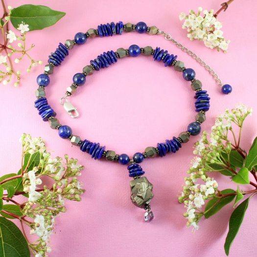 Lapis & Pyrite Necklace N-0123-a