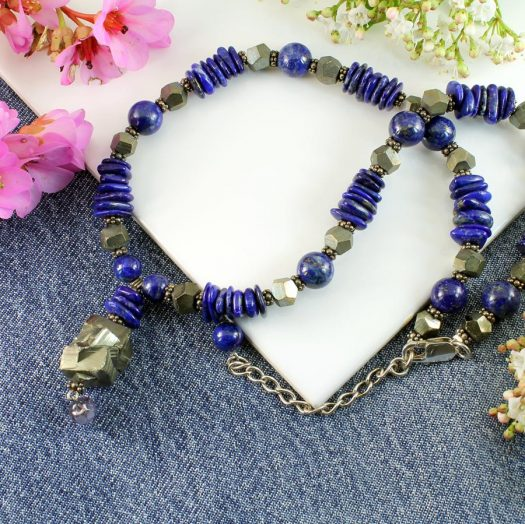 Lapis & Pyrite Necklace N-0123-b