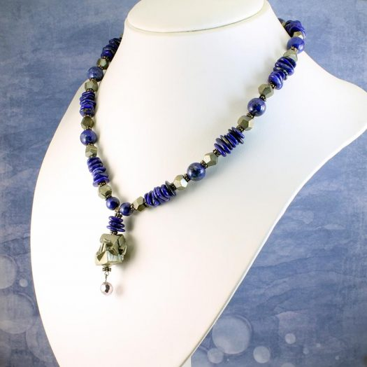 Lapis & Pyrite Necklace N-0123-c
