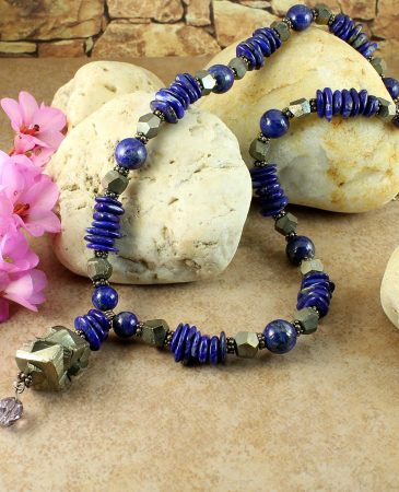 Lapis & Pyrite Necklace N-0123-d