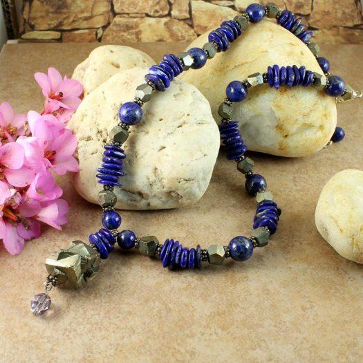 Lapis & Pyrite Necklace N-0123-d