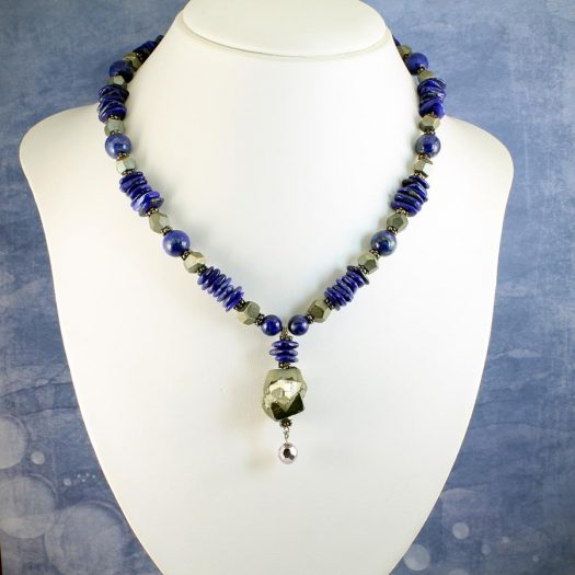 Lapis & Pyrite Necklace N-0123-e