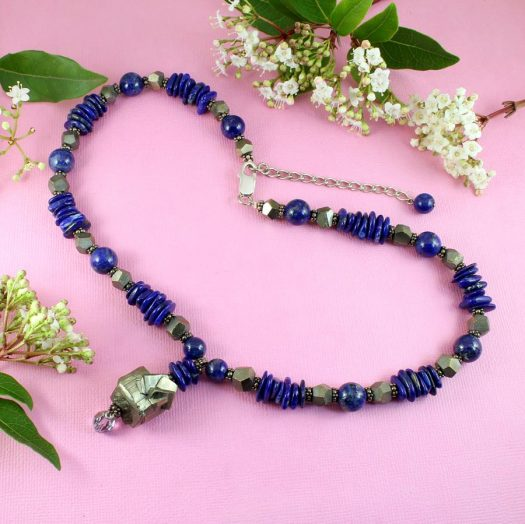 Lapis & Pyrite Necklace N-0123-f