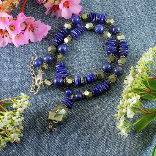 Lapis & Pyrite Necklace N-0123-g