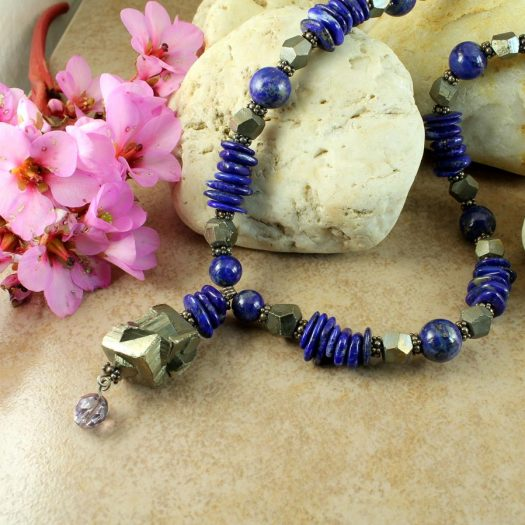 Lapis & Pyrite Necklace N-0123-h