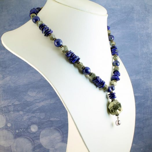 Lapis & Pyrite Necklace N-0123-i