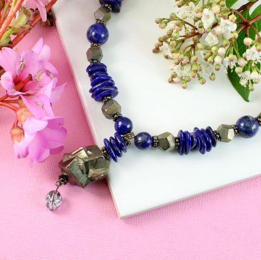 Lapis & Pyrite Necklace N-0123-j