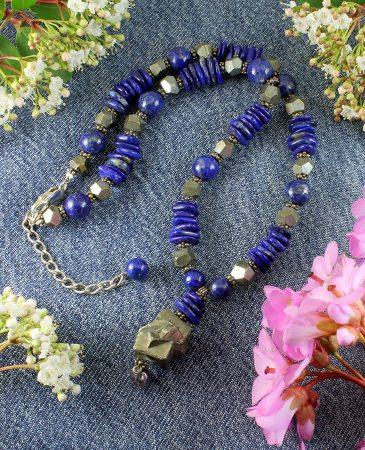 Lapis & Pyrite Necklace N-0123-k