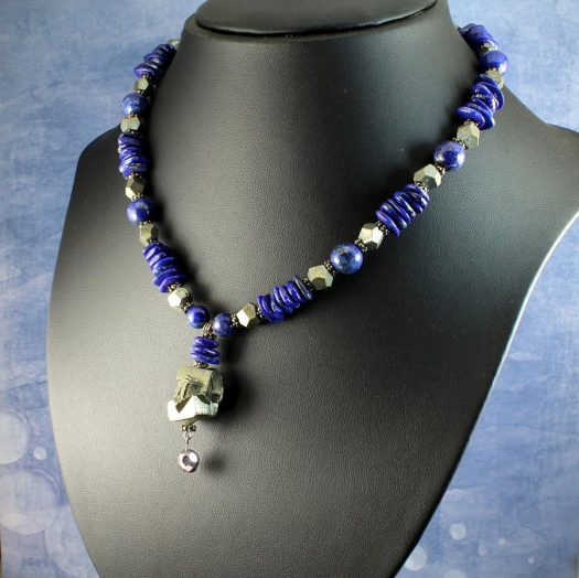 Lapis & Pyrite Necklace N-0123-l