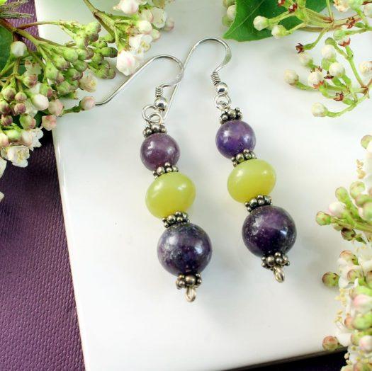 Lepidolite Lime Jade Earrings E-0147-a