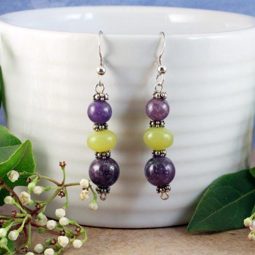 Lepidolite Lime Jade Earrings E-0147-b
