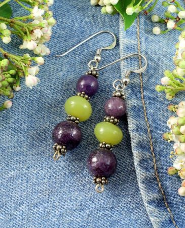 Lepidolite Lime Jade Earrings E-0147-c