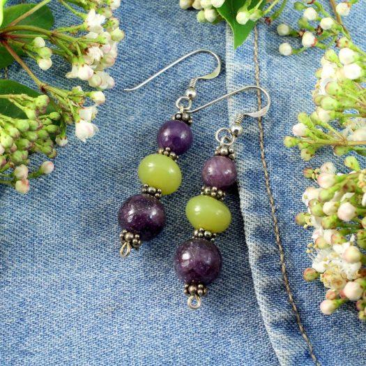 Lepidolite Lime Jade Earrings E-0147-c