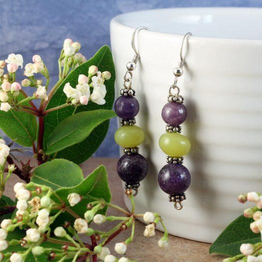 Lepidolite Lime Jade Earrings E-0147-d