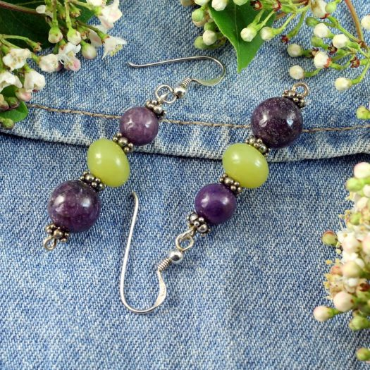 Lepidolite Lime Jade Earrings E-0147-e