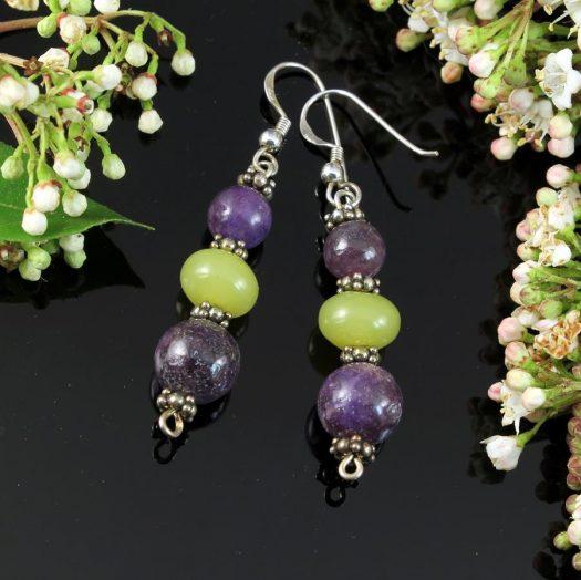 Lepidolite Lime Jade Earrings E-0147-f