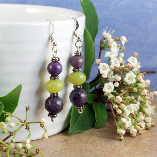 Lepidolite Lime Jade Earrings E-0147-g