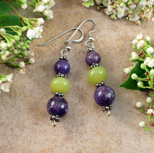 Lepidolite Lime Jade Earrings E-0147-h