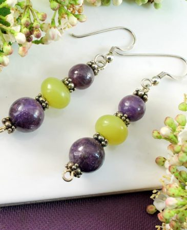 Lepidolite Lime Jade Earrings E-0147-i