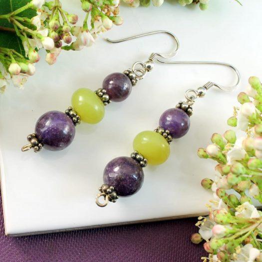 Lepidolite Lime Jade Earrings E-0147-i