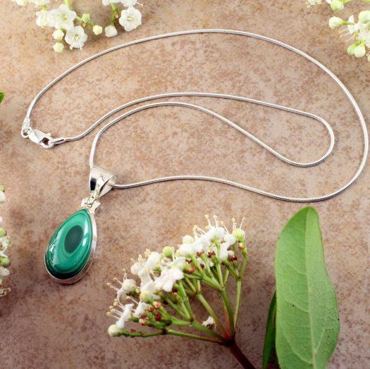 Malachite Teardrop Necklace N-0191-c