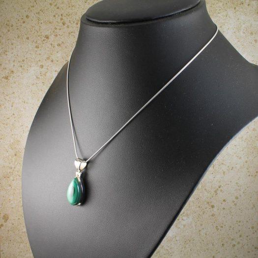 Malachite Teardrop Necklace N-0191-d