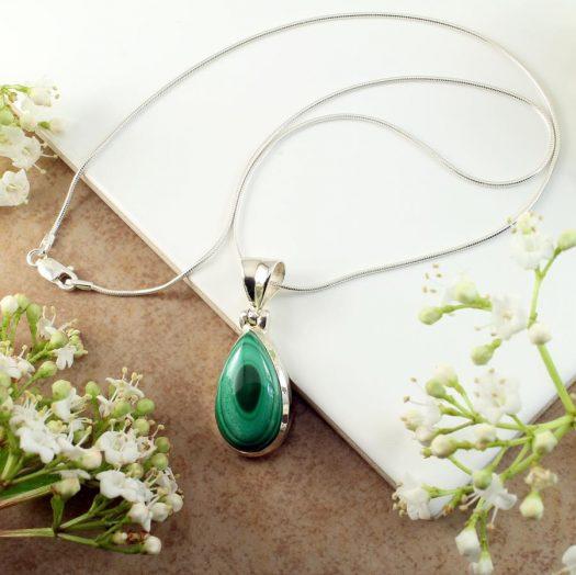 Malachite Teardrop Necklace N-0191-e