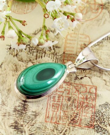 Malachite Teardrop Necklace N-0191-f
